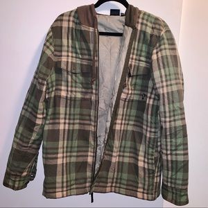 Vans Mens Green/Brown Plaid Flannel Jacket  Size M